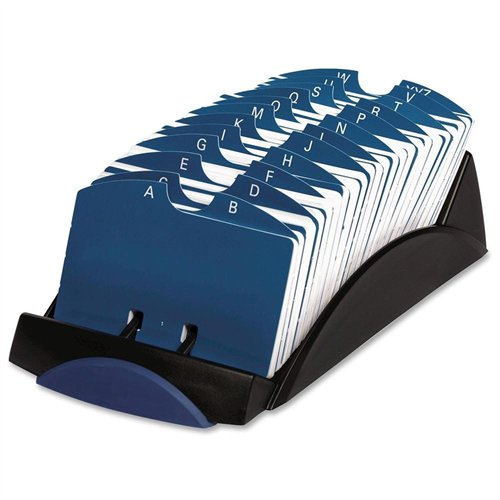 ROLODEX 66998 Vip Open Tray Card File With 24 A-z Guides Holds 500 2 1/4 X 4 Cards, Black
