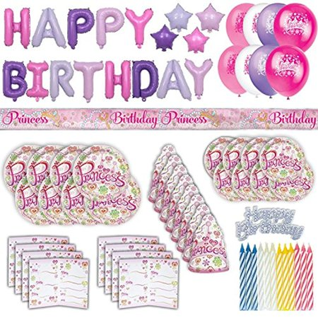 Princess Party Set for 8, 60+ piece kit: Plates, Spoons, Forks, Knives, Princess Hats, Invitations, Balloons, Take-Home Bags +FREE Birthday Banner, Cake Decorator, Candles - Royal Princess Birthday Party