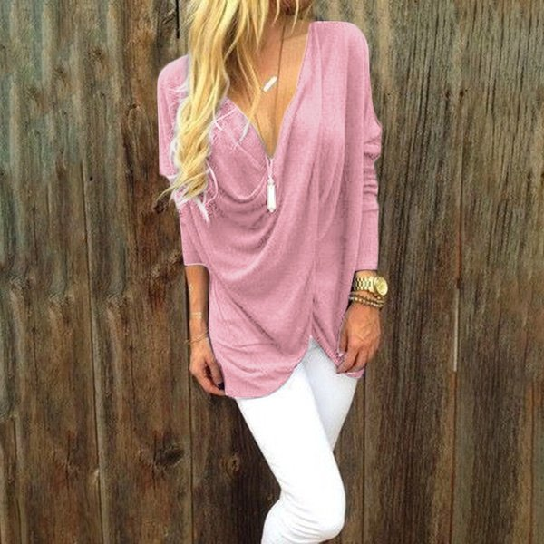 Women V Neck Top Long Sleeves Loose Casual Pullover Tee