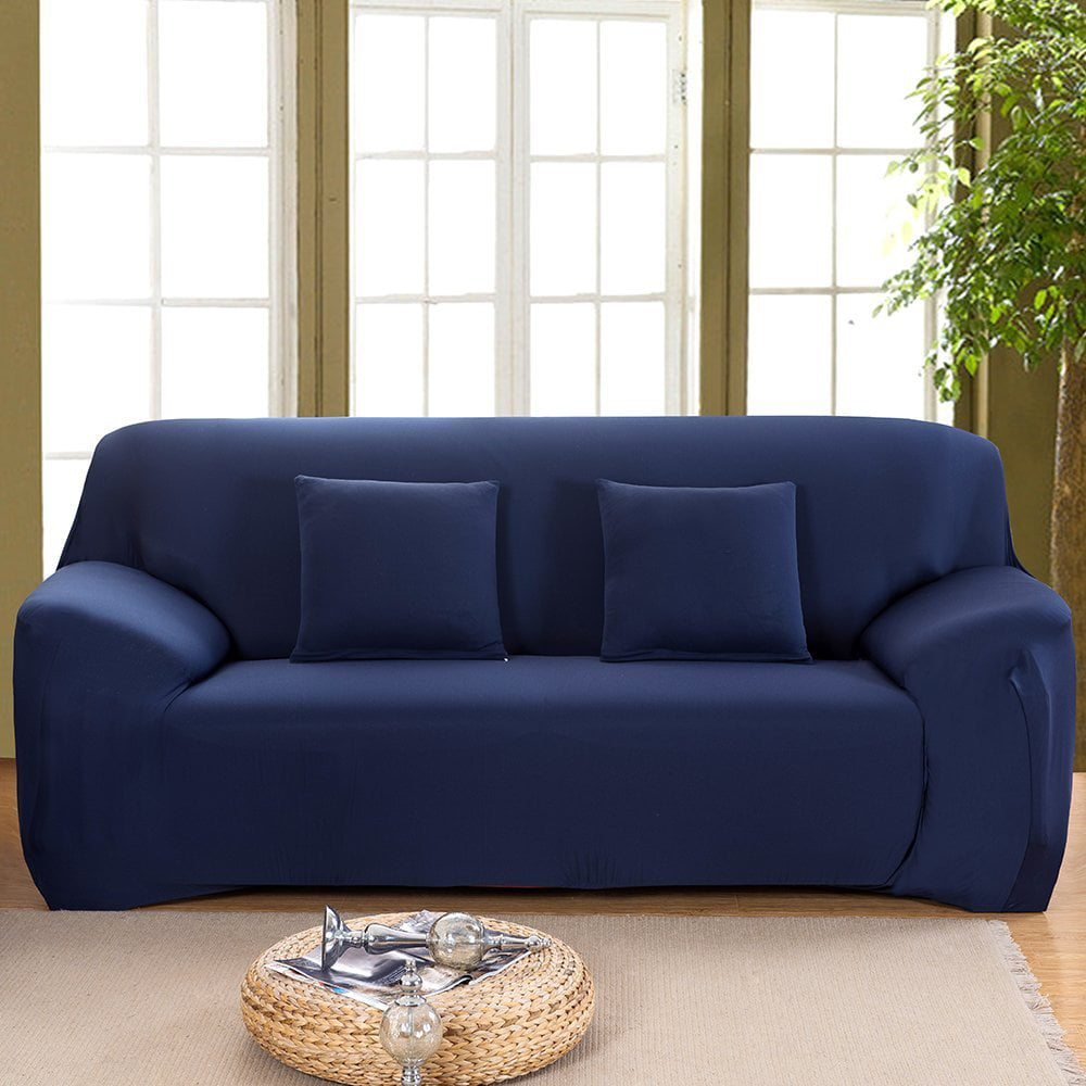 Stretch Elastic Anti Wrinkle Pure Color Slipcover For 1 4 Seater Sofas For Moving Living Room Furniture 3 Seater Dark Blue Walmart Com Walmart Com