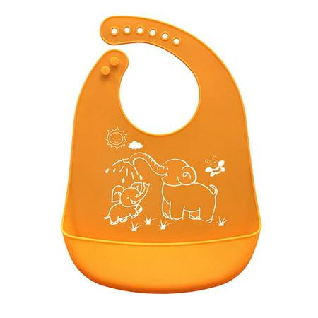 Cartoon Prints Kids Silicone Bib Adjustable Waterproof Baby Feeding Apron Child Crumb Catcher