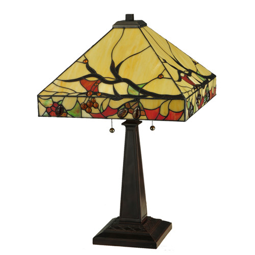 """Meyda Tiffany 131507 Woodland Berries 2 Light 25"""" Tall Hand-Crafted Table Lamp with Stained Glass by Meyda Tiffany"""