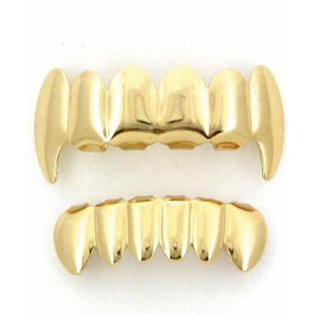 Gold Tone Fangs Hip Hop Teeth Grillz Top & Bottom Grill Set - Fake Teeth Grillz
