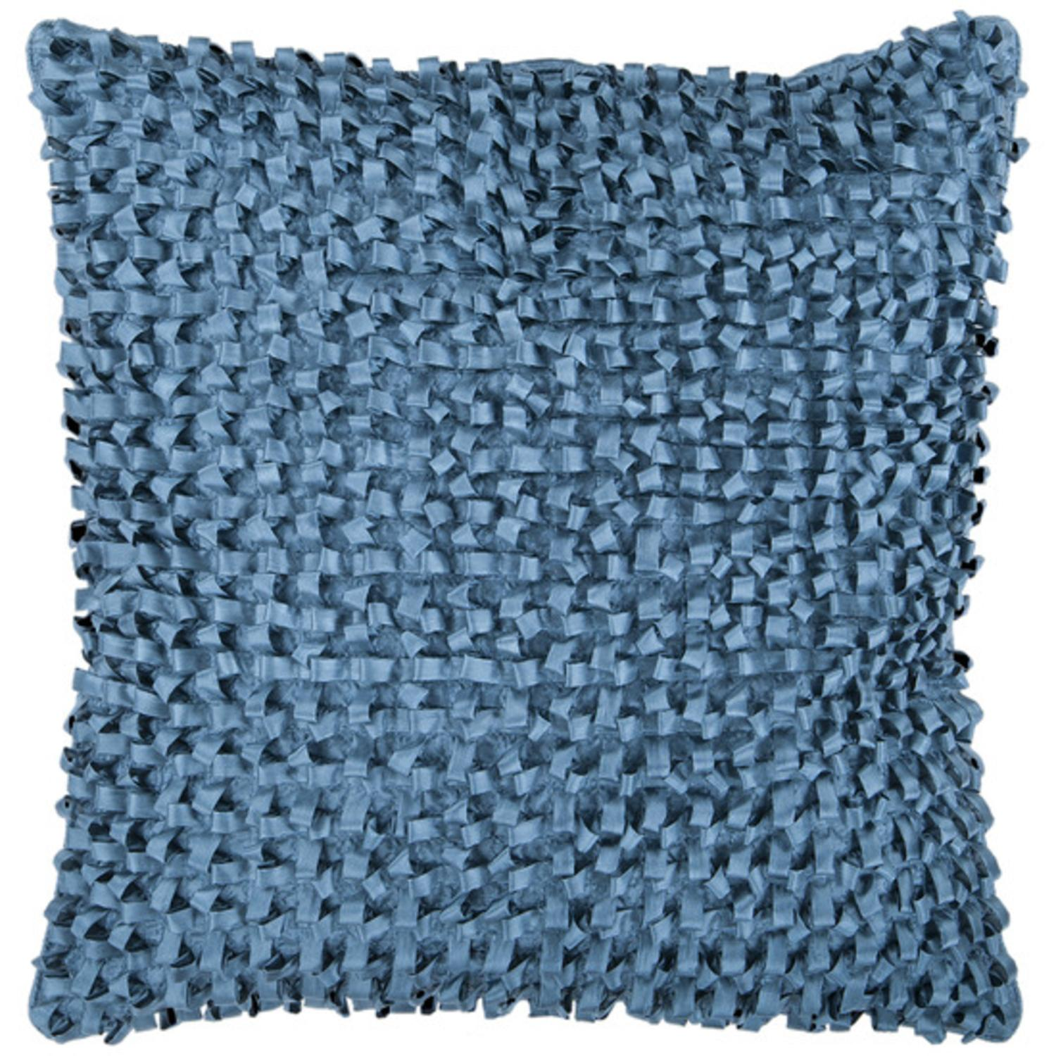 """18"""" Pacific Blue Ribbon Weave Decorative Down Throw Pillow"""