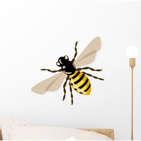 Bee Decals (Vector Honey Bee Illustration Wall Decal by Wallmonkeys Peel and Stick Graphic (12 in W x 11 in H) WM18706)