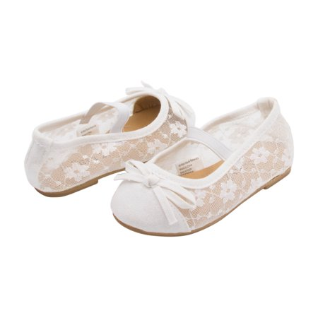 Sara Z Toddler Girls Lace Openwork Slip On Ballet Flat with Elastic Arch & Bow White 11-12 - Ballet Flats Toddlers