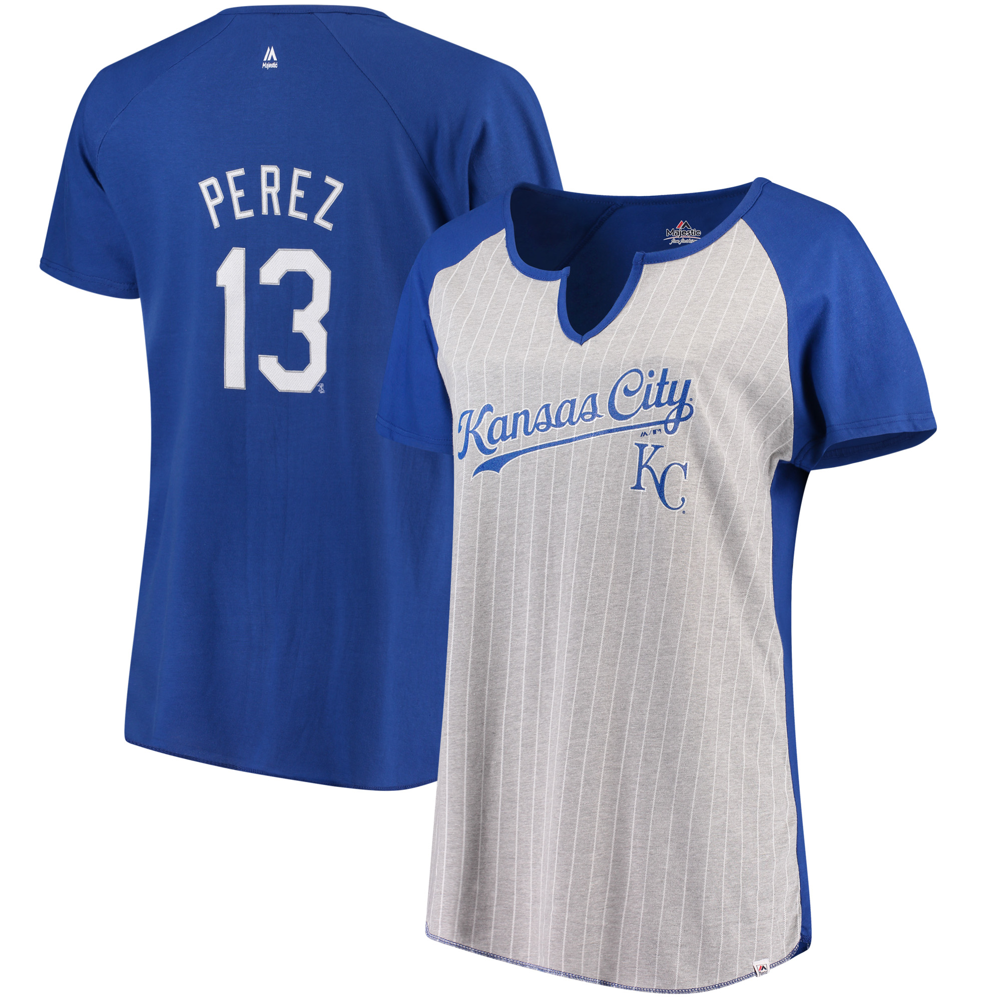 Salvador Perez Kansas City Royals Majestic Women's Plus Size Pinstripe Player T-Shirt - Gray/Royal