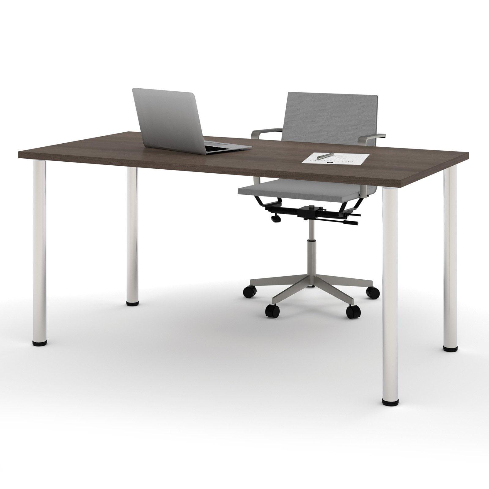 "Bestar 30"" x 60"" Table with round metal legs in Antigua by Bestar"