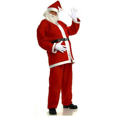Adult's Mens Promotional Flannel Santa Claus Christmas Costume Suit (Men Christmas Costumes)