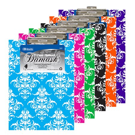 New 401613   Standard Size Damask Paperboard Clipboard W / Low Profile Clip (48-Pack) Office Supply Cheap Wholesale Discount Bulk Stationery Office Supply River Stones - Mini Clipboards Bulk