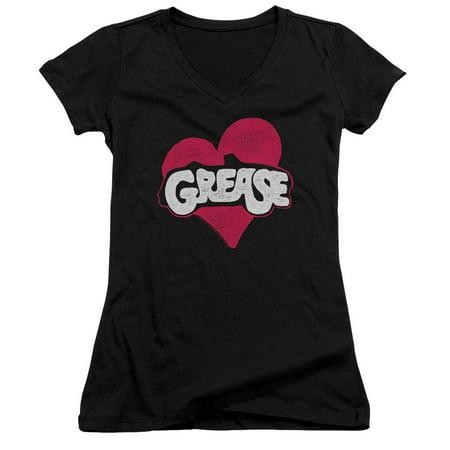 Grease Heart Juniors V-Neck Shirt
