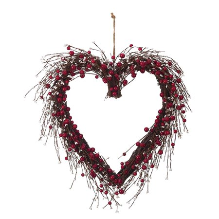 Wood Red Valentines Day Faux Berry and Twig Heart Wreath - Valentine Wreath