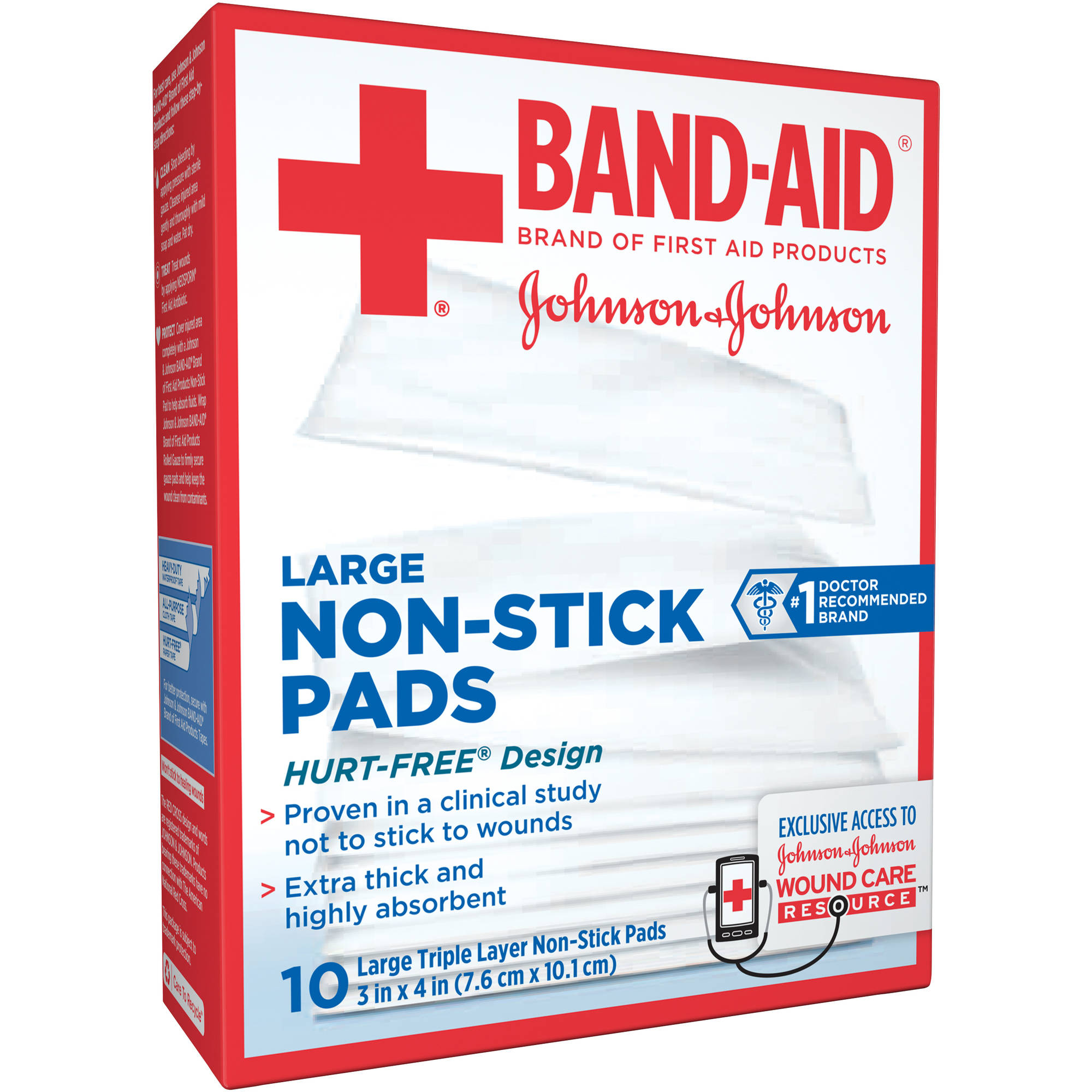 Band-Aid Non-Stick Pads, Large, 10 count