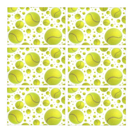 Mkhert Funny Sports Tennis Balls Rain Placemats Table Mats