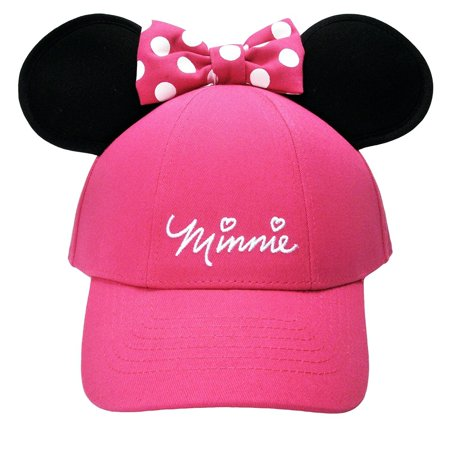 Adult Women's Minnie Mouse Bow Ears Pink Baseball Hat W72A for $<!---->