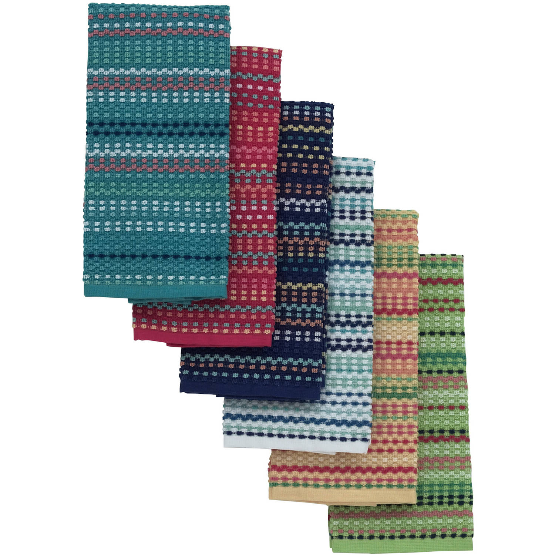 mainstays yarn dyed kitchen towel(mix of 6) - walmart