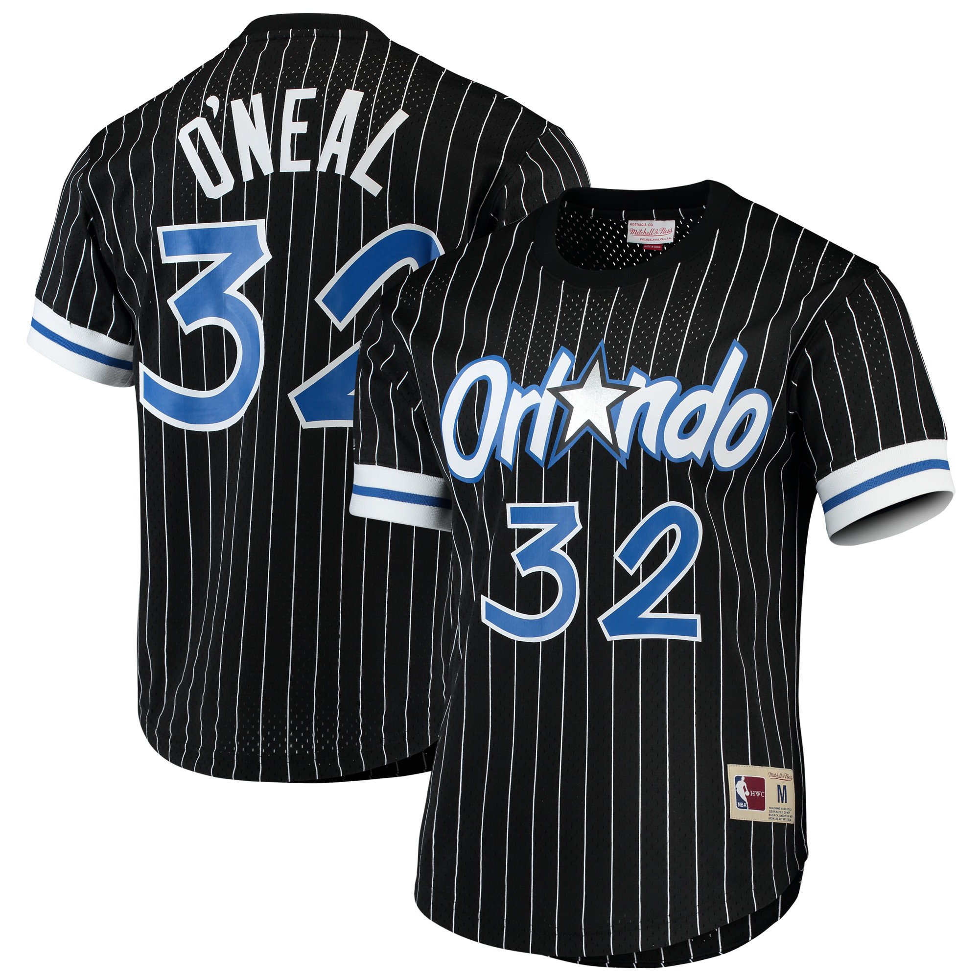 Shaquille O'Neal Orlando Magic Mitchell & Ness Hardwood Classics Mesh Crew Name & Number T-Shirt - Black