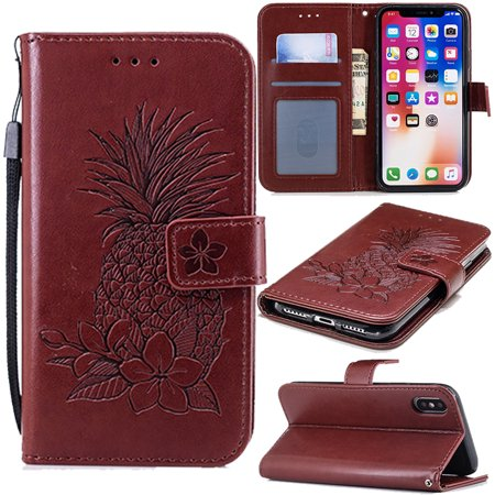 online store 2b3e5 58c66 iPhone XS Case 2018, iPhone X Case 2017, Allytech PU Leather Embossed  Pineapple Folio Flip Stand Wrist Strap Shockproof Anti-Scratch Wallet Case  Cover ...