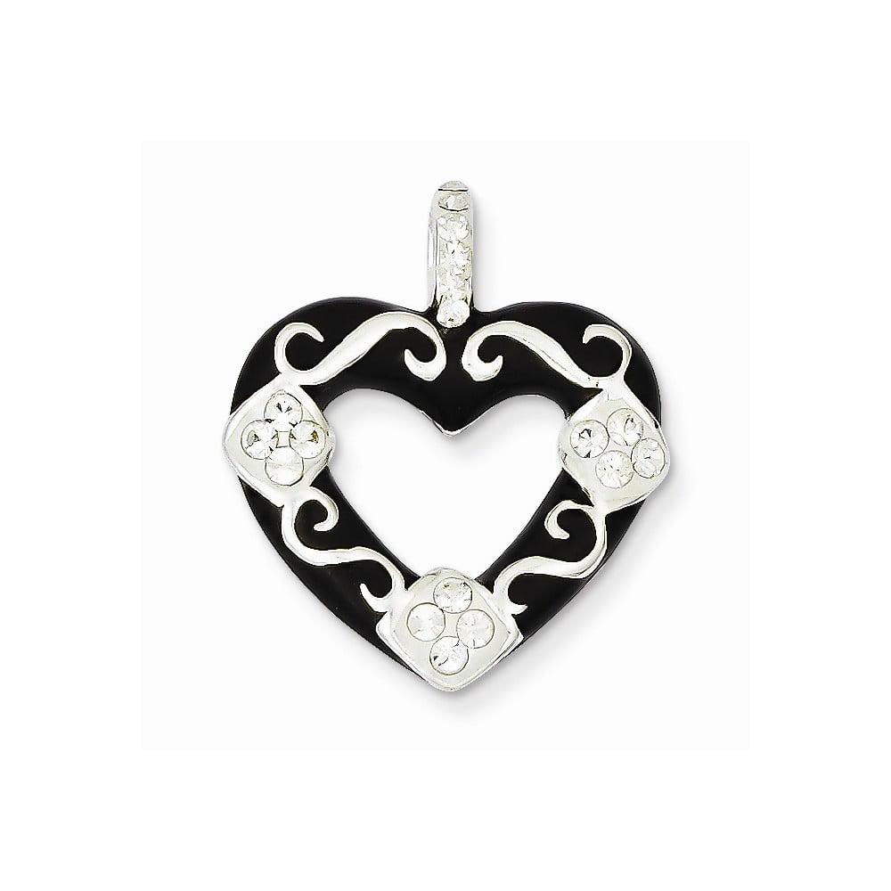 Sterling Silver Stellux Crystal Black Heart Pendant