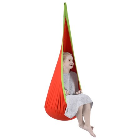 Child Pod Swing Chair Tent Nook Indoor Outdoor Hanging Seat Hammock Kids Orange (Kids Nook)