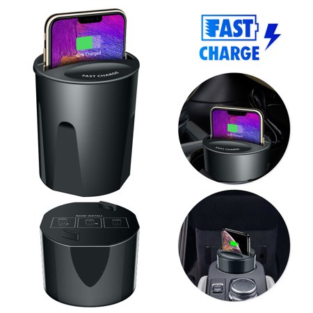 Fast Qi Wireless Charger Car Charging Cup Phone Holder for iPhone XS MAX/XS/XR/X/8/8 Plus, Samsung Galaxy Note9/Note8/S9/S8/S7 edge/S6, QI Smart - Charger Cup