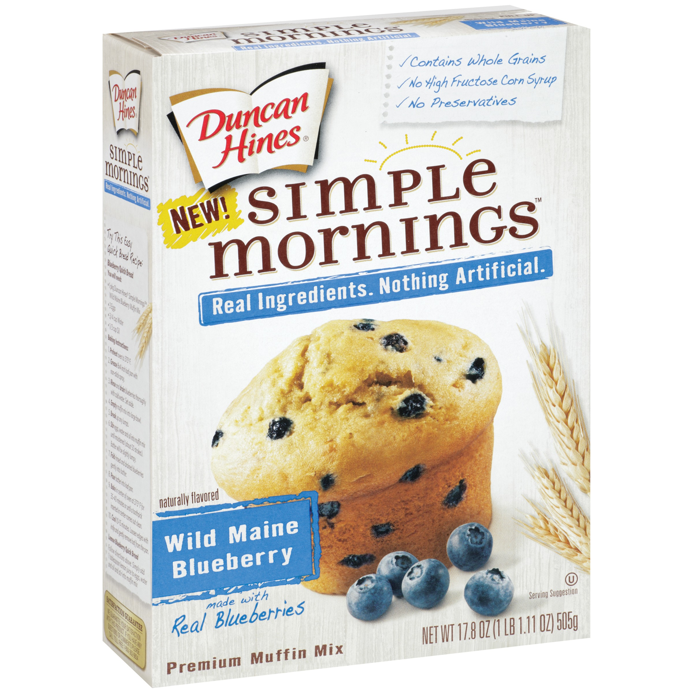 Duncan Hines Simple Mornings Muffin Mix Wild Maine Blueberry, 17.8 OZ by Pinnacle Foods Group LLC