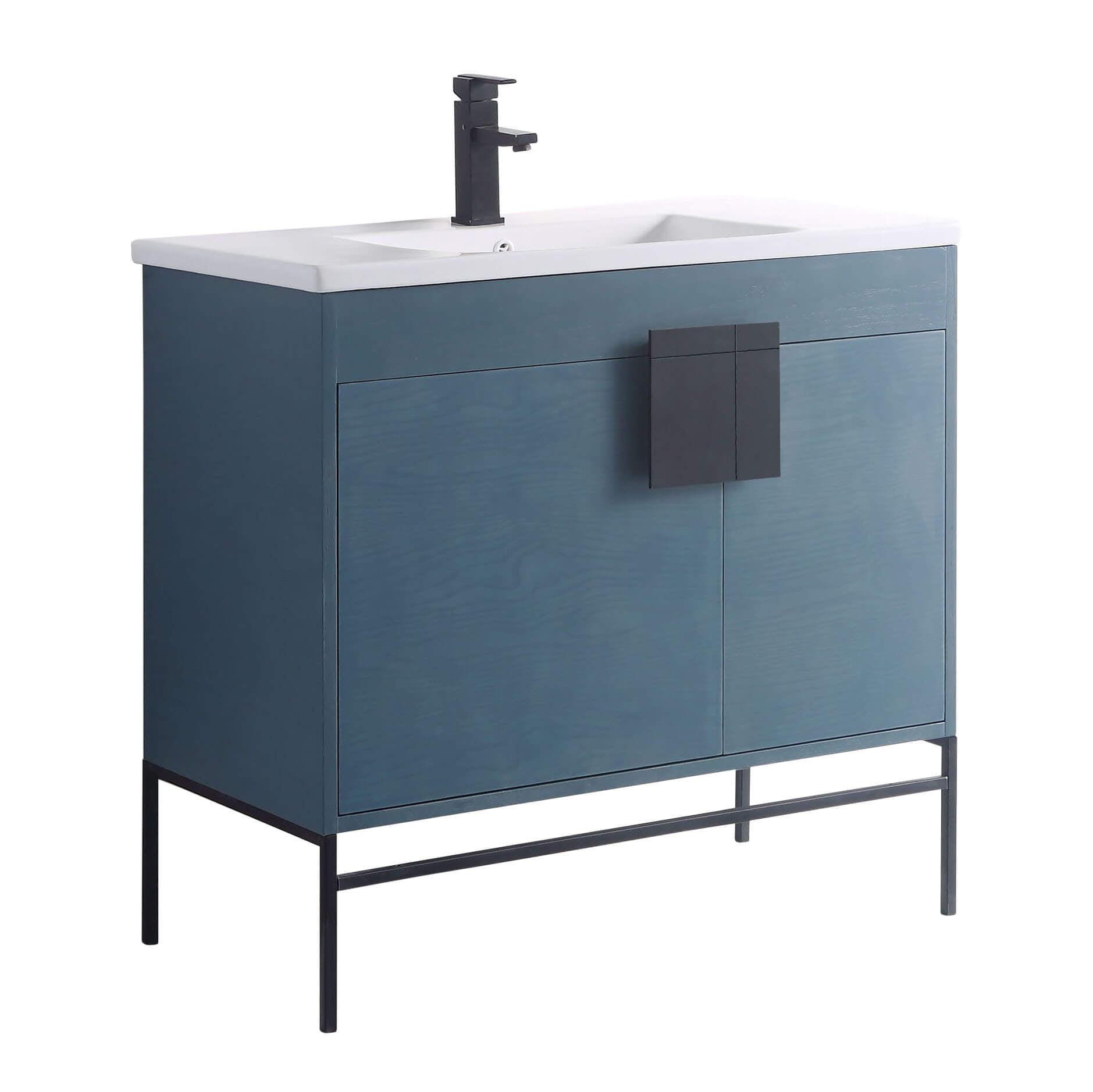 Fine Fixtures Modern Blue 36 Bathroom Vanity Set Black Matte Hardware Vitreous China Sink Top Walmart Com Walmart Com
