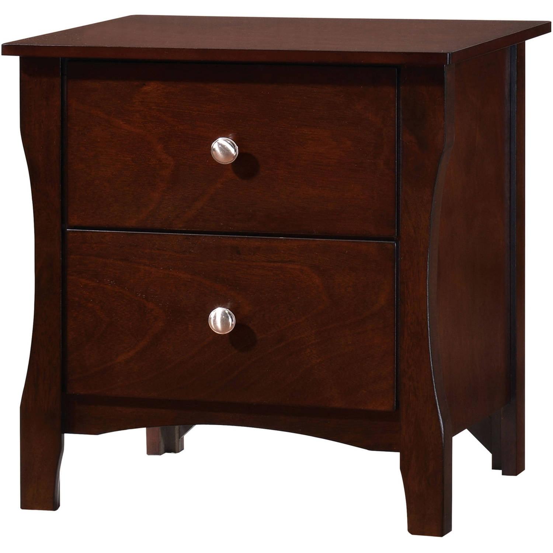 Furniture of America Areena 2-Drawer Nightstand, Brown Cherry