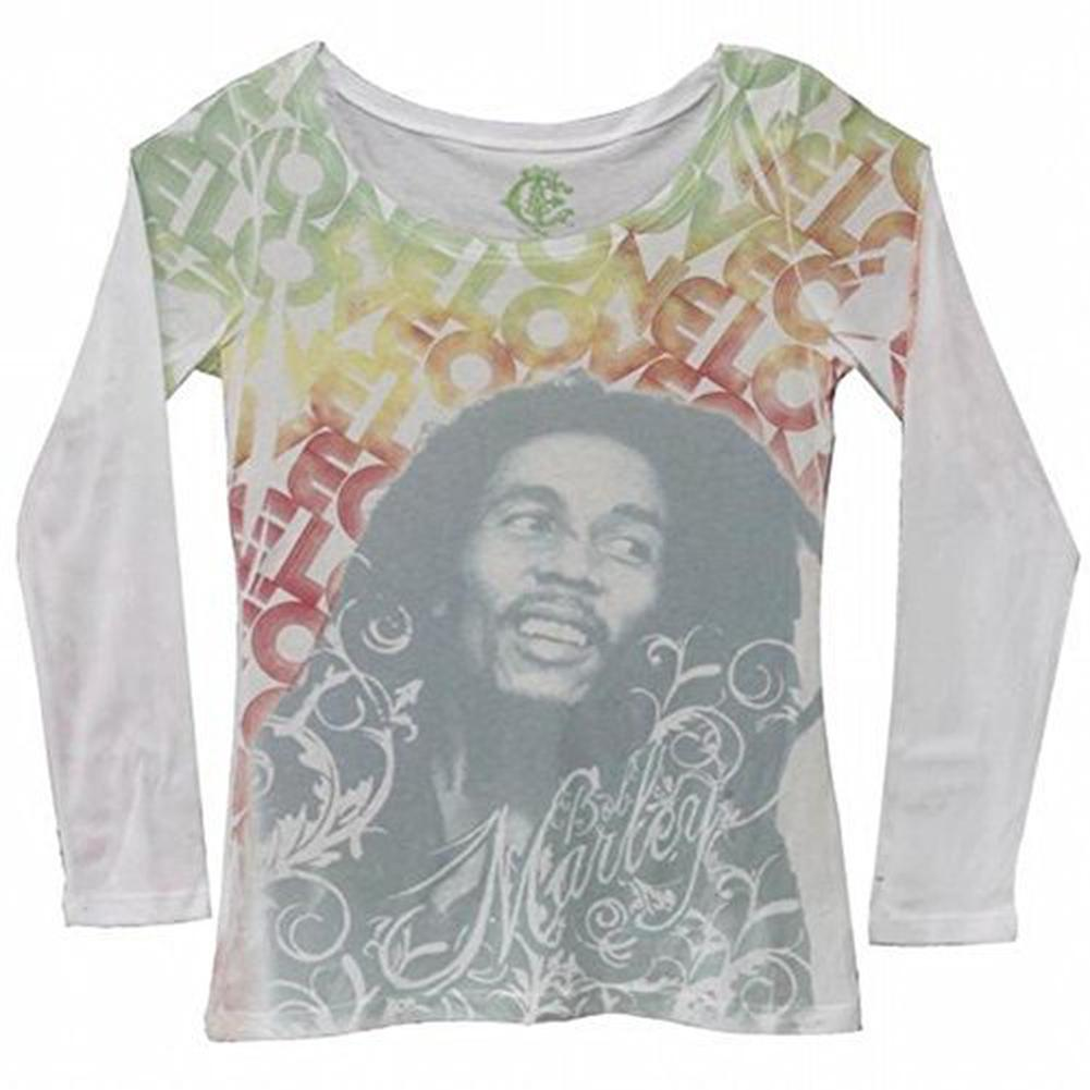 Old Glory Bob Marley - One Love Juniors Long Sleeve T-Shirt