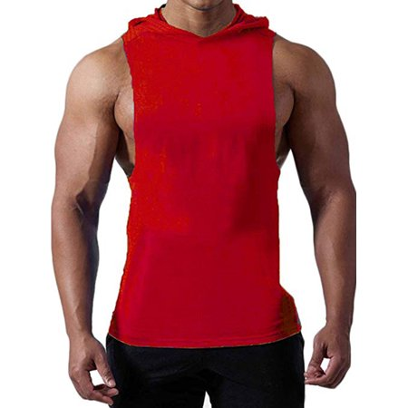 Coolest Cool Sleeveless - LELINTA Mens Workout Hooded Tank Tops Sleeveless Gym Hoodies with Pocket Cool and Muscle Cut Black/ Grey/ Blue/ Red/ White