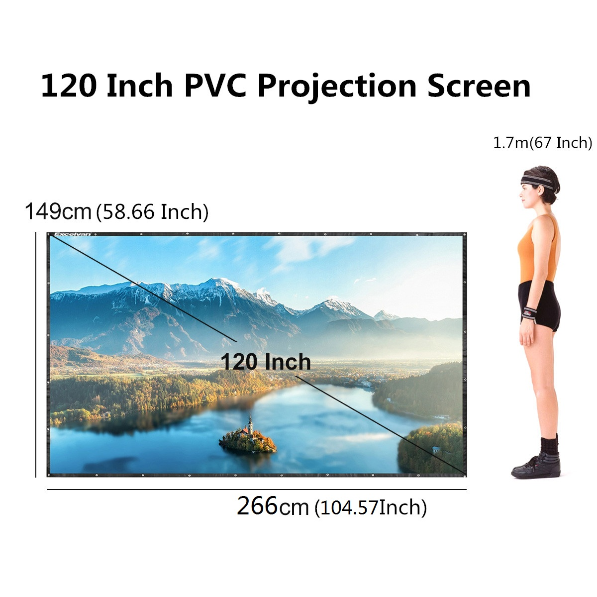 "120"" Projector 16:9 Movie Screen Projection Screen with Foldable Tripod Stand, Manual"