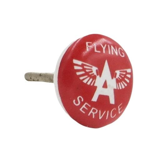 Shabby Restore Flying A Oil Service' Gas Station Ceramic Drawer/ Door/ Cabinet Pull Knobs (Pack of 6)