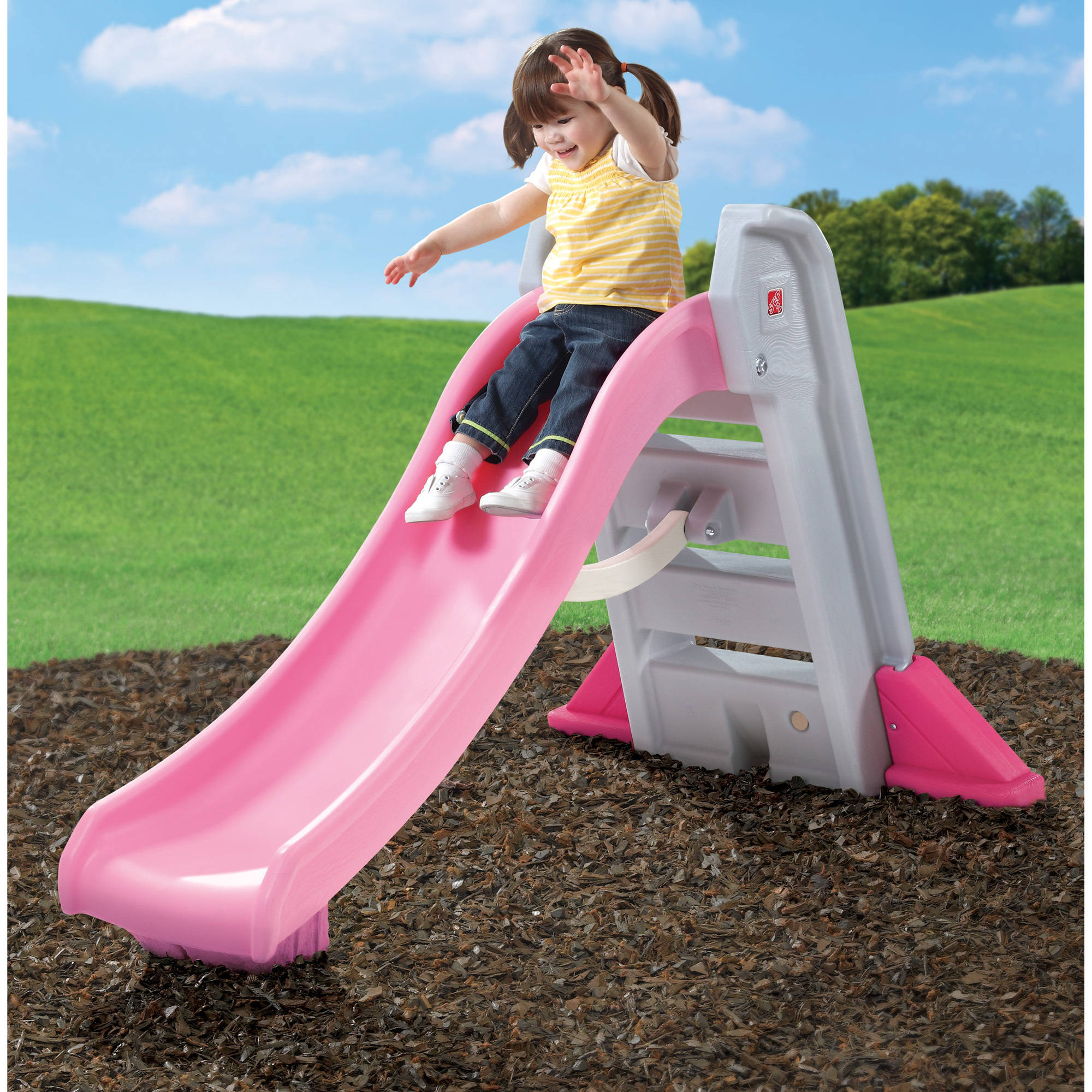 Plastic Play Kitchen Step 2 step2 big folding slide, pink, plastic slide and high-side rails