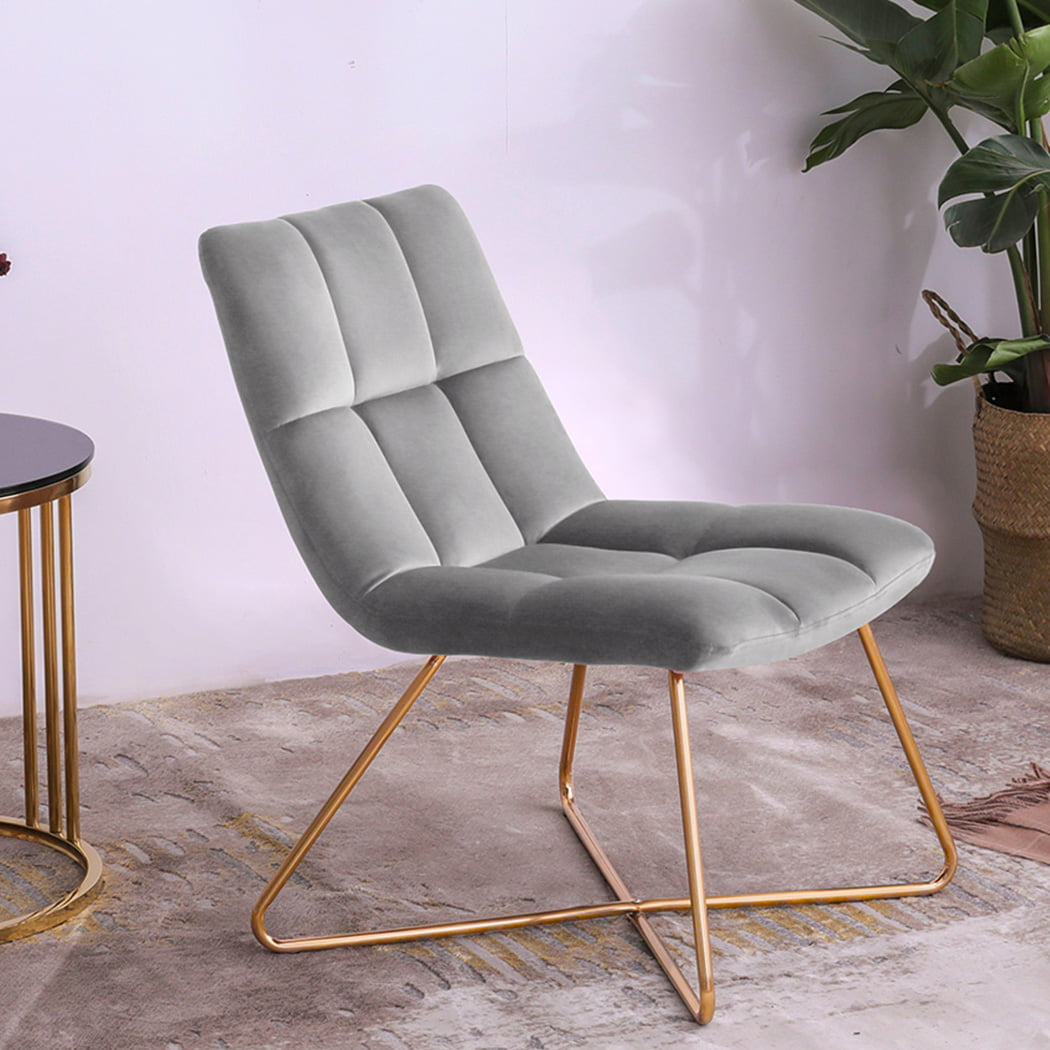 Duhome Slipper Chairs Velvet Accent Chairs Retro Leisure Lounge Chair Mid Century Modern Chair Vanity Chair For Living Room Bedroom With Gold Metal Legs Grey 1 Pcs Walmart Com Walmart Com