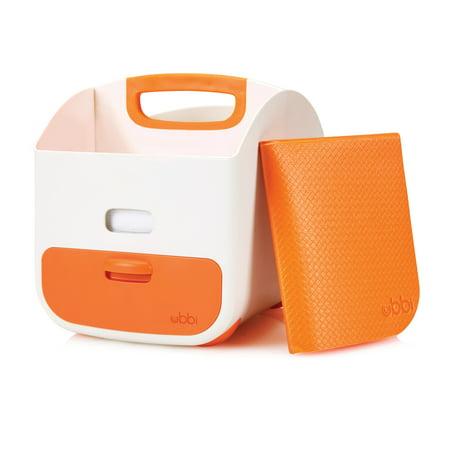 Ubbi Diaper Storage Caddy and Changing Mat, Orange