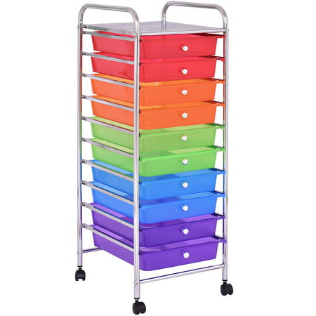 Costway 10 Drawer Rolling Storage Cart Scrapbook Paper Office School Organizer](Scrapbooking Storage)