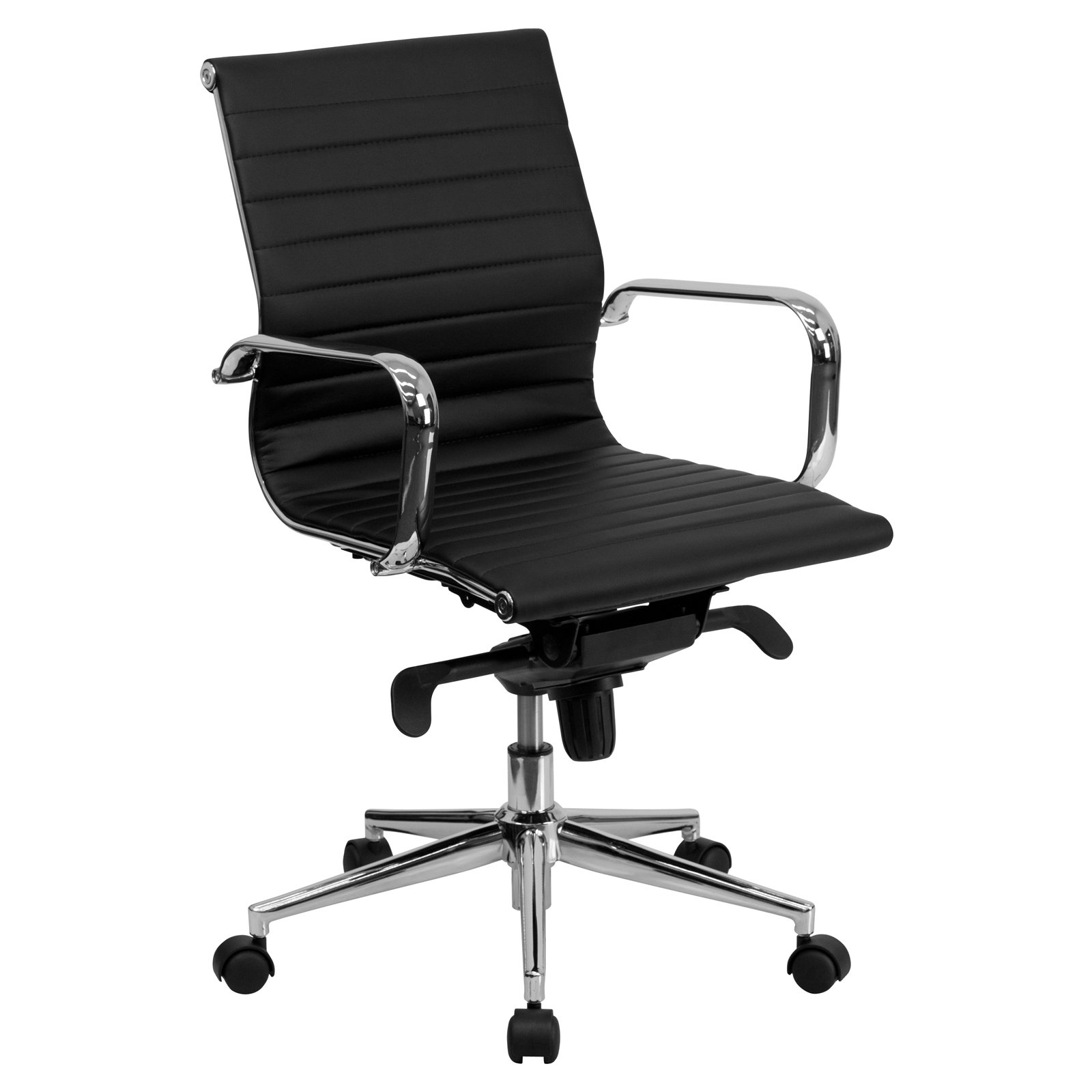 Flash Furniture Mid-Back Ribbed Upholstered Leather Executive Office Chair