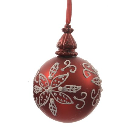 Alpine Chic Red with White Decorative Floral Design Glass Christmas Ball Ornament 3.25