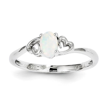 Sterling Silver Created Opal Ring. Gem Wt- 0.16ct
