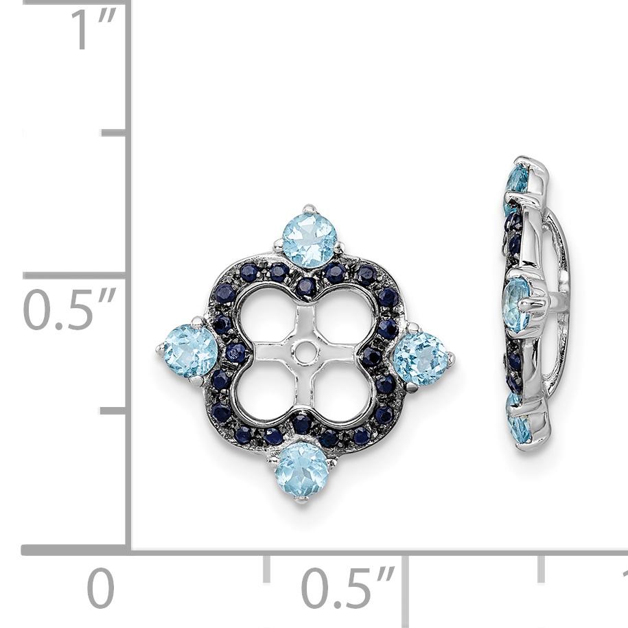 Sterling Silver Rhodium Swiss Blue Topaz & Black Sapphire Earring Jacket QJ137DEC - image 1 de 2