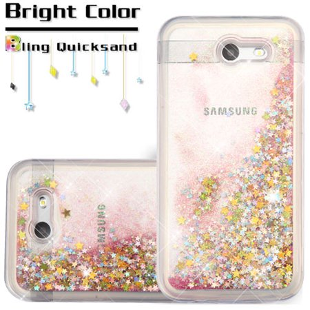 separation shoes c2f9c 70e58 Samsung Galaxy J3 Emerge, Galaxy J3 (2017) J327P, Galaxy Express Prime 2  Phone Case BLING Hybrid Liquid Glitter Quicksand Rubber Silicone TPU ...