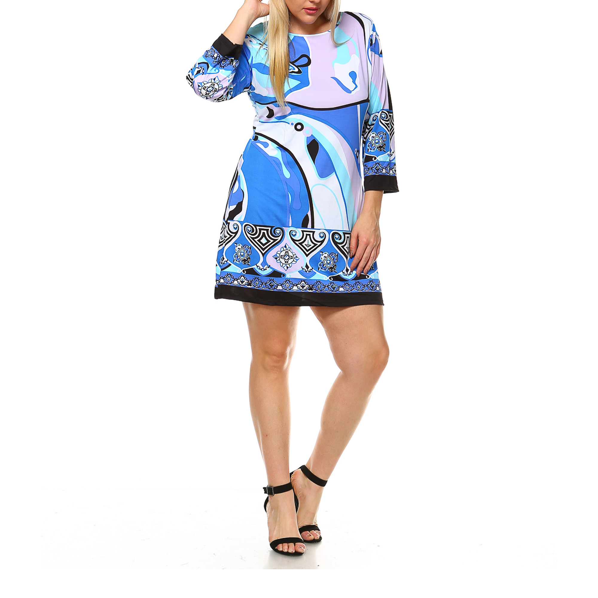 White Mark Women's Plus Size Abstract Wave Bell Sleeve Dress