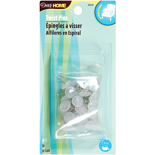 Upholstery Decorative Twist Pins, 30pk, Clear