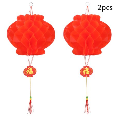 Clearance  Elecmall  2pcs Chinese Red Lanterns For New Year Chinese Spring Festival Wedding Festival Restauran Decoration - Traditional Chinese New Year Decorations
