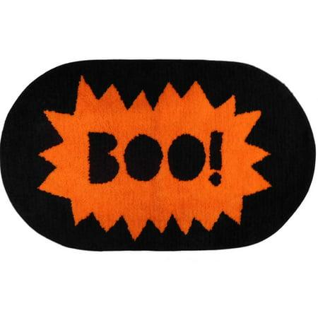 Halloween Decor Boo Throw Bath Rug 20x34 Skid Resistant Oval Mat - Bath Uni Halloween