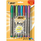Bic Corporation MSBAPP241-AST 24 Count Assorted Cristal Bold Ball Point Pens - Pack of 3
