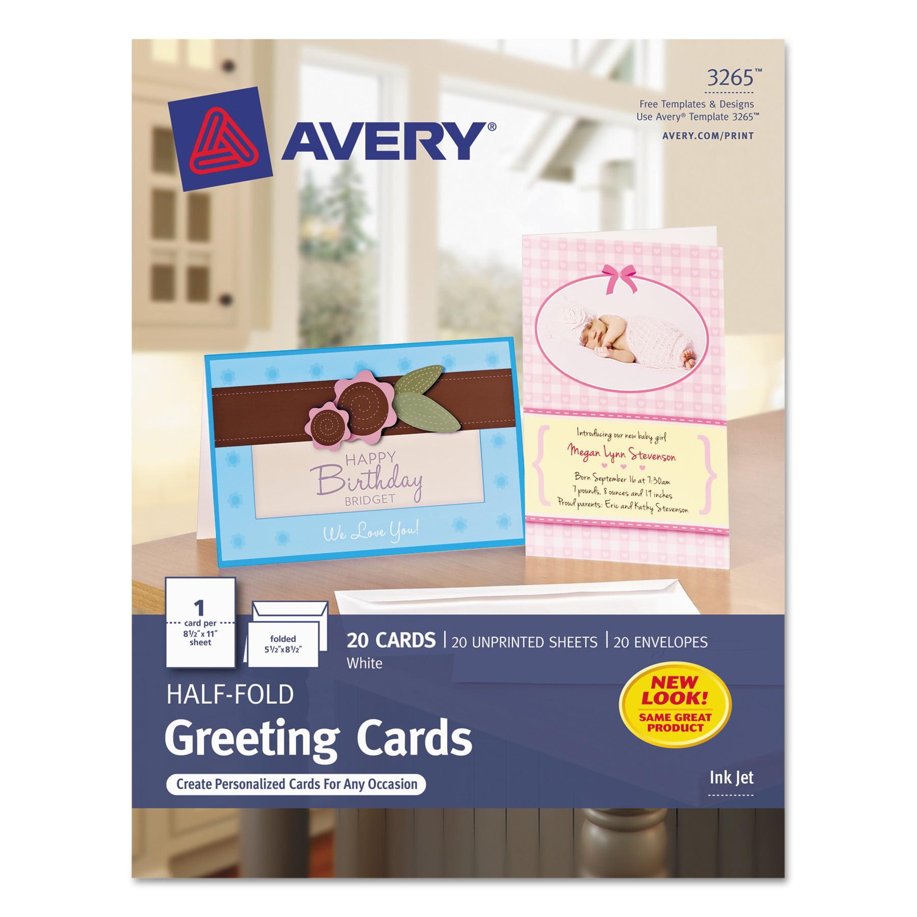 Avery Half Fold Greeting Cards Inkjet 5 12 X 8 12 Matte White