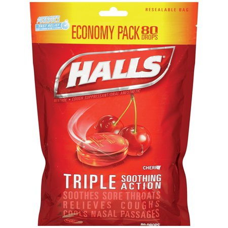 Halls Triple Action Soothing Cough Drops, Cherry, 80