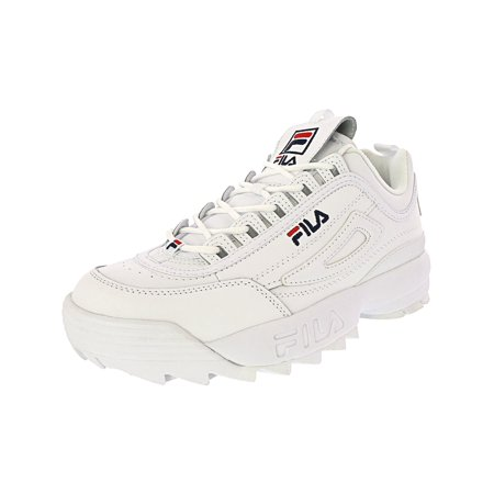 - Fila Men's Disruptor Ii Premium White / Navy Red Ankle-High Patent Leather Fashion Sneaker - 8.5M