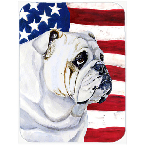Caroline's Treasures Patriotic USA American Flag with English Bulldog Glass Cutting Board